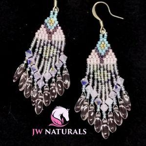 Handmade Pink Swarovski Beaded Earrings
